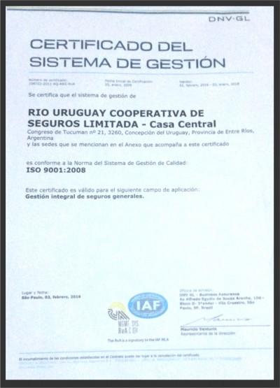 Río Uruguay Seguros recibió Certificado 2016